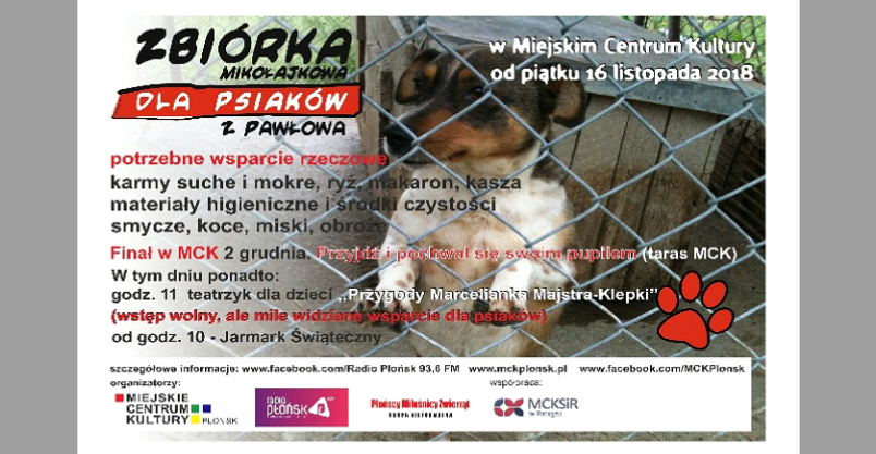 Zbiórka Mikołajkowa dla psiaków z Pawłowa  Kliknięcie w obrazek spowoduje wyświetlenie jego powiększenia