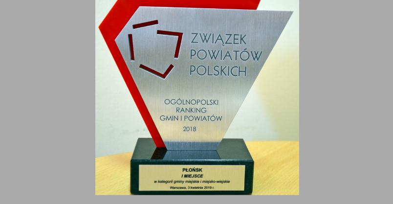 Płońsk – ponownie laureatem Ogólnopolskiego Rankingu Gmin i Powiatów Kliknięcie w obrazek spowoduje wyświetlenie jego powiększenia